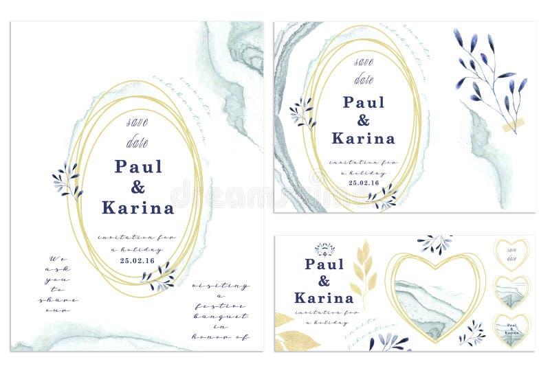Комплект карточки с цветком, листьями Концепция орнамента свадьбы Флористический плакат, приглашает декоративные поздравительная  иллюстрация штока