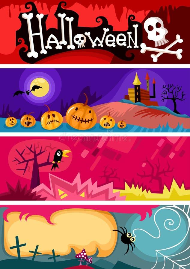 Комплект карточки Hallowen иллюстрация штока