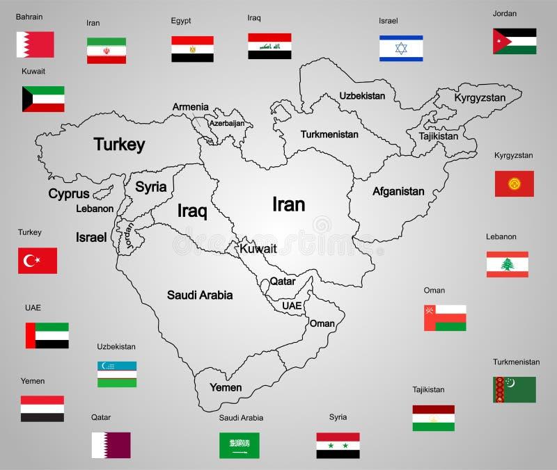 Комплект карты Ближний Востока положений и флагов иллюстрация вектора
