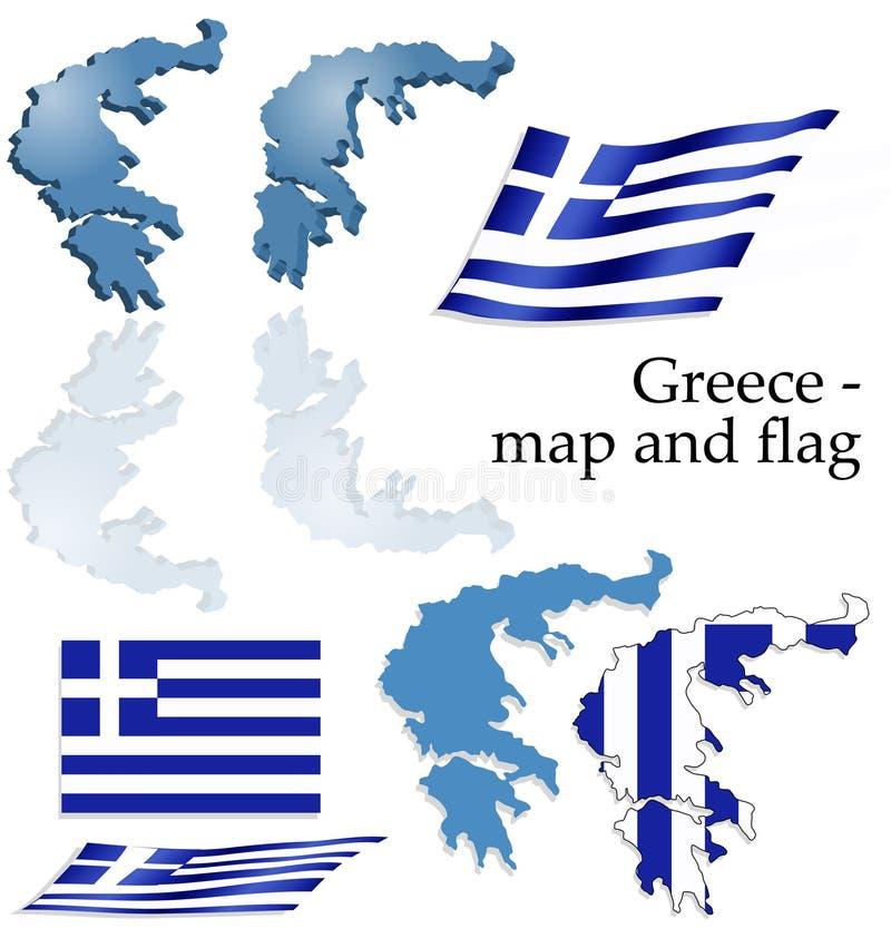 комплект карты Греции флага стоковые изображения rf