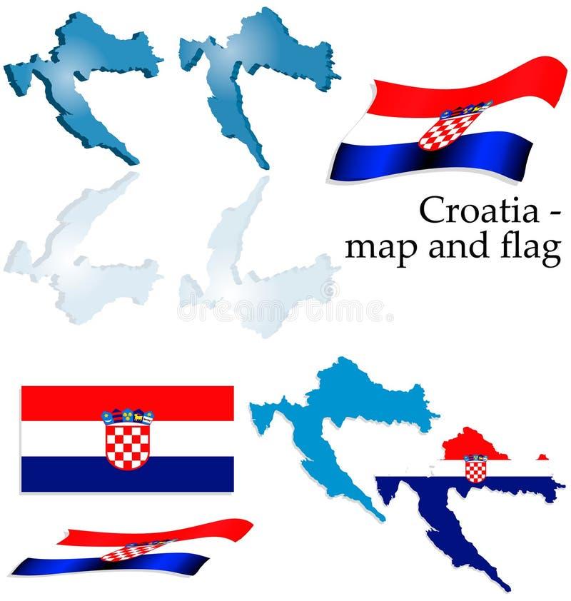 комплект карты флага Хорватии стоковые фотографии rf