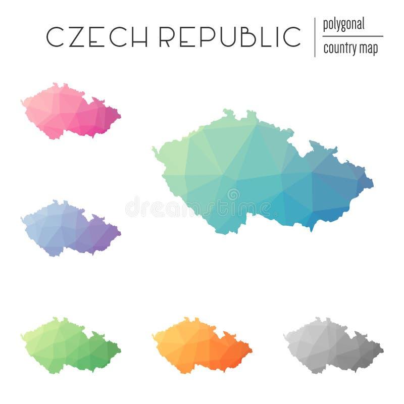 Комплект карт чехии вектора полигональных иллюстрация вектора