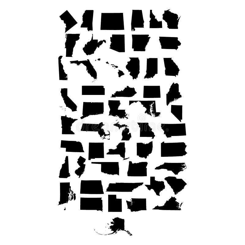 Комплект карт штатов США иллюстрация штока