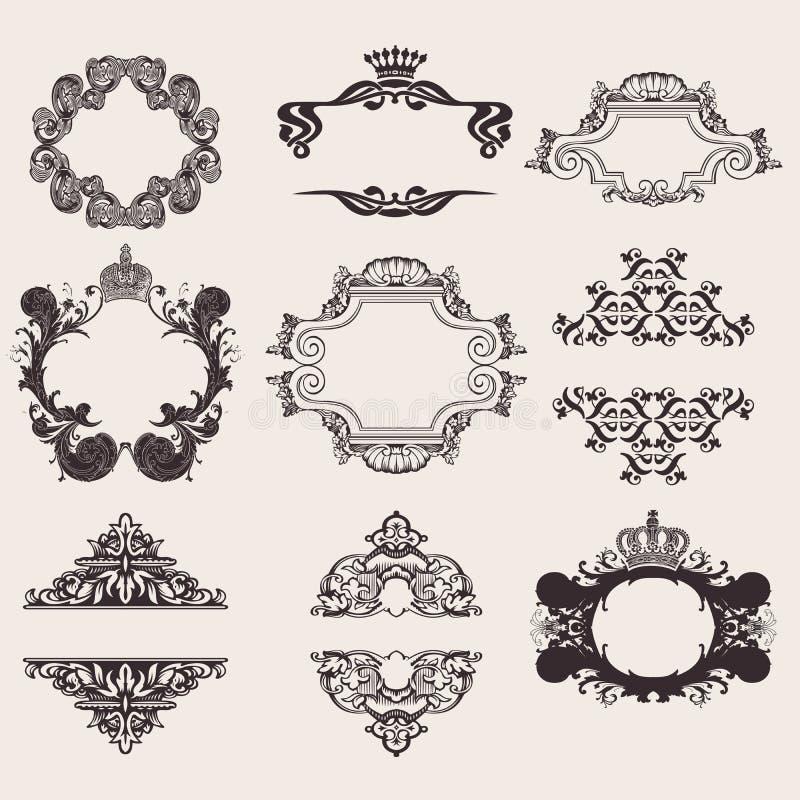 комплект квада знамени 9 богато украшенный иллюстрация вектора