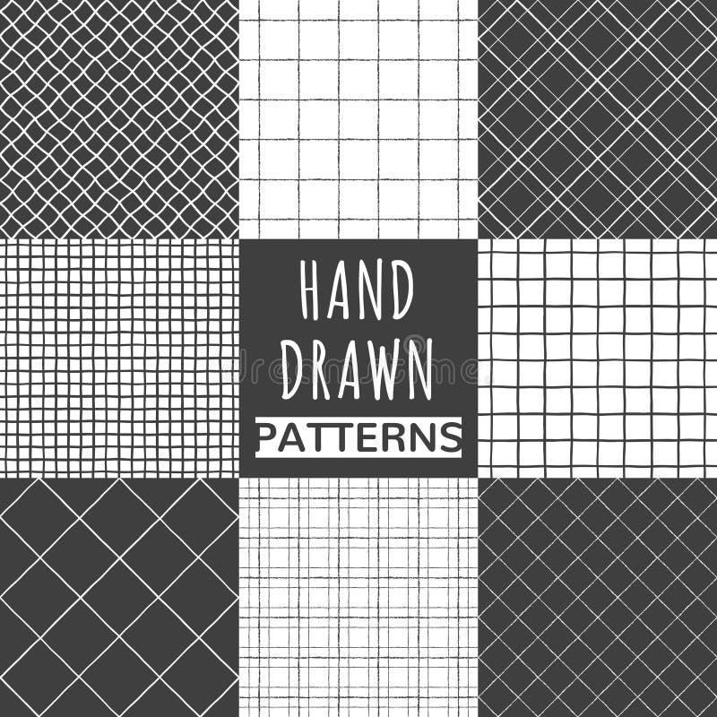 Комплект квадрата нарисованного рукой, проверки, сетчатых безшовных картин иллюстрация штока