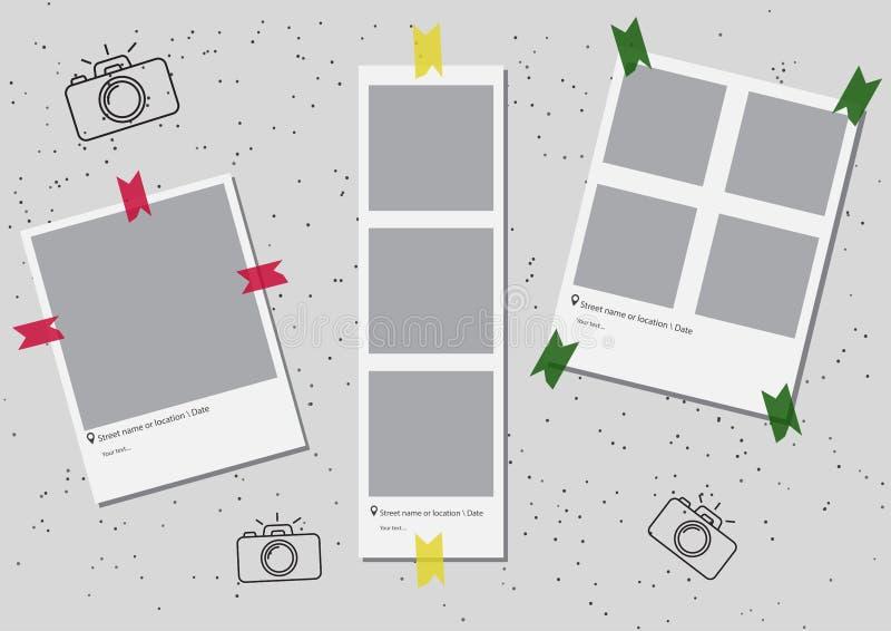Комплект квадратного шаблона рамки с тенями и с покрашенным желтым цветом зеленого цвета ленты красным вектор экрана иллюстрации  бесплатная иллюстрация