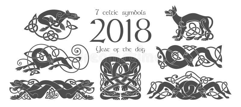 Комплект кельтских символов собак Элементы дизайна в племенном стиле иллюстрация штока