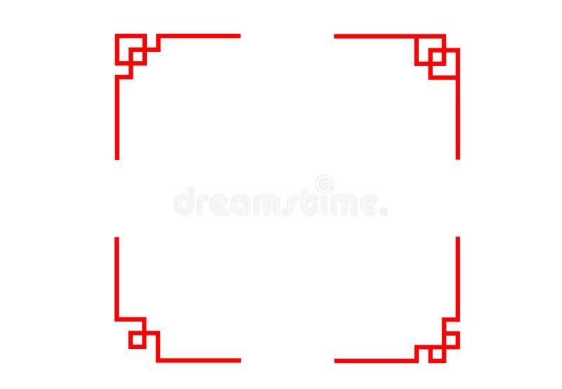 Комплект китайской линии угла в классическом векторе стиля иллюстрация вектора