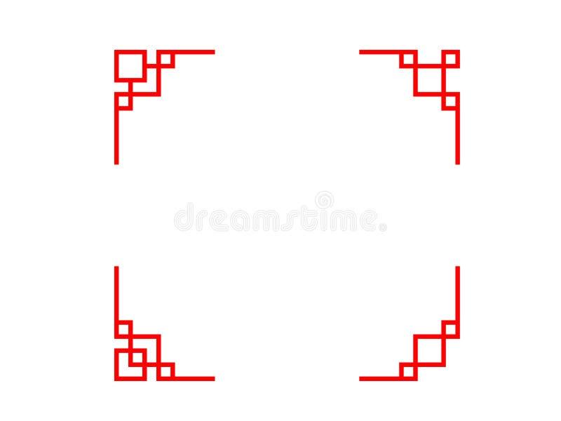 Комплект китайской линии угла в классическом стиле бесплатная иллюстрация
