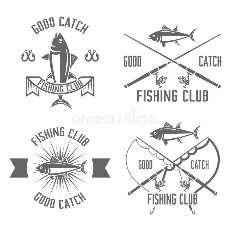 Комплект клуба рыбной ловли эмблем вектора винтажных черных бесплатная иллюстрация