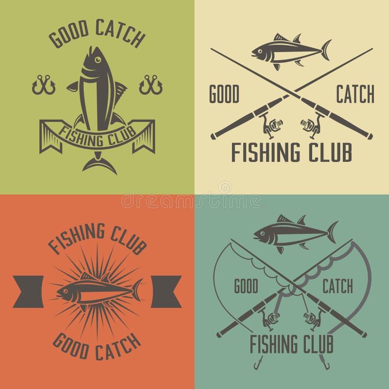 Комплект клуба рыбной ловли эмблем года сбора винограда вектора иллюстрация штока