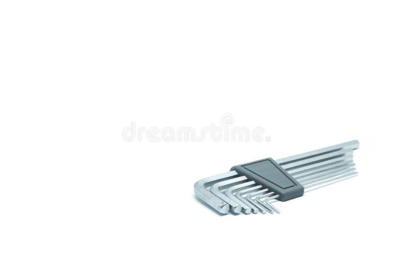 Комплект ключа наговора на изолированной белой предпосылке стоковое фото rf