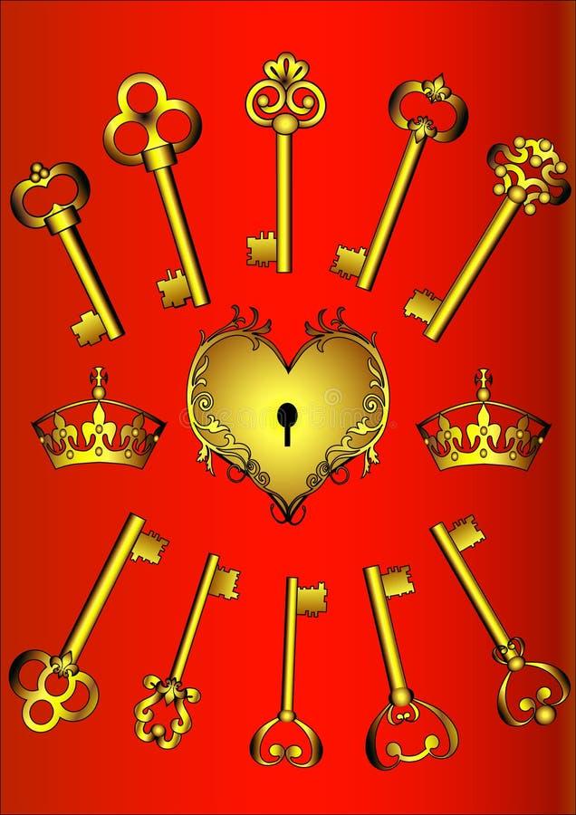 комплект ключа сердца иллюстрация вектора