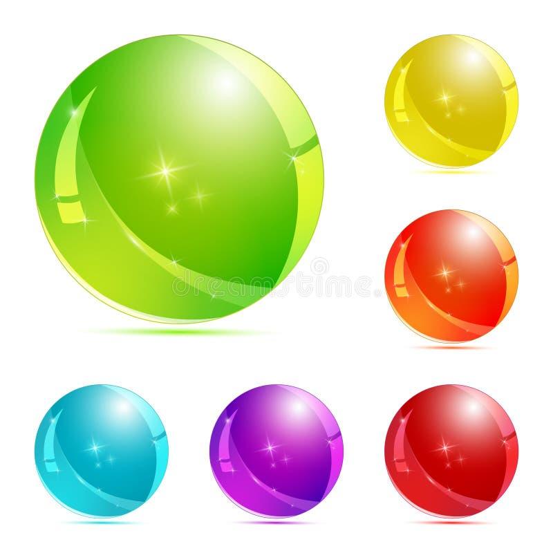 Комплект кнопки стекла 3d Лоснистые значки для сети иллюстрация вектора