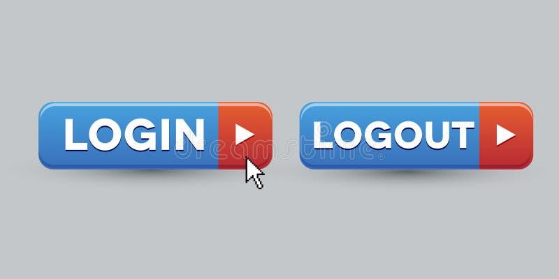 Комплект кнопки Logout имени пользователя иллюстрация штока