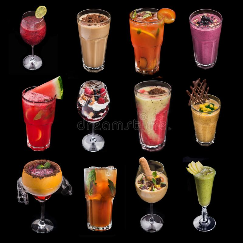 комплект коктеиля питья спирта стоковое изображение