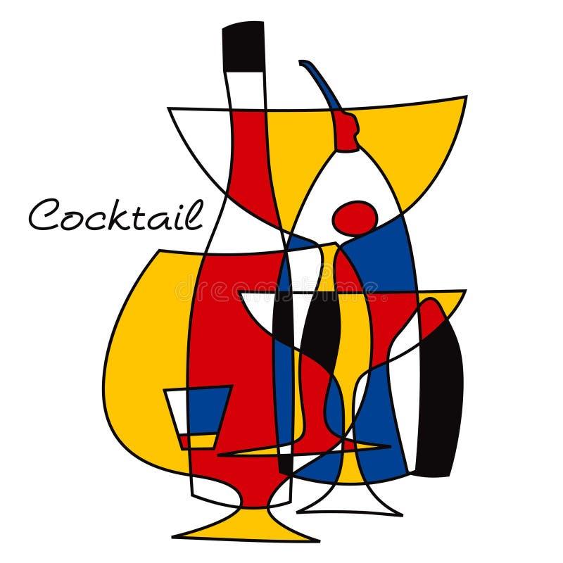 Комплект коктеиля ретро Комплект аксессуаров бара для делать коктеили Оборудование бара установленные стекла бесплатная иллюстрация