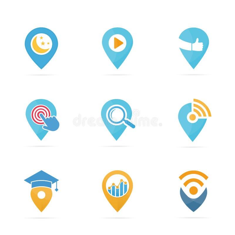 Комплект комбинации логотипа указателя карты Локатор GPS и символ или значок штыря Уникально дизайн логотипа навигации и отметки бесплатная иллюстрация