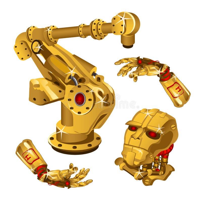 Комплект компонентов робота сделан от золота драгоценного металла школы иконы образования технология высокой установленная также  иллюстрация вектора