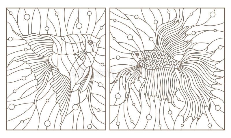 Комплект контура с иллюстрациями в рыбах аквариума стиля цветного стекла удит кран и скаляры, темные контуры на белом backgroun иллюстрация вектора