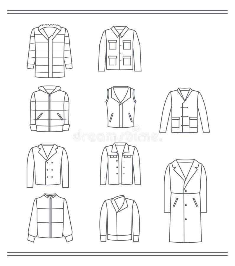 Комплект контуров курток ` s людей иллюстрация вектора
