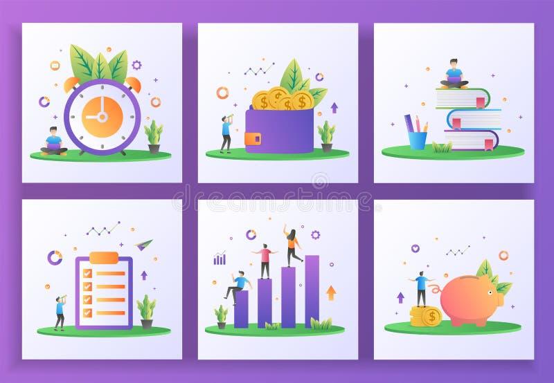 Комплект концепции плоского дизайна Управление временем, заработки, образование, список рабочих мест, инвестиции, экономия денег  бесплатная иллюстрация