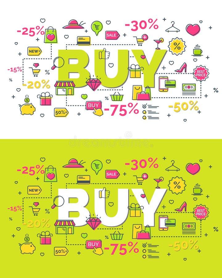 Комплект концепции покупки бесплатная иллюстрация