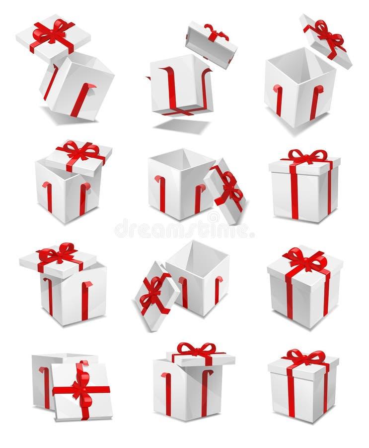 Комплект коробки подарка вектора иллюстрация штока