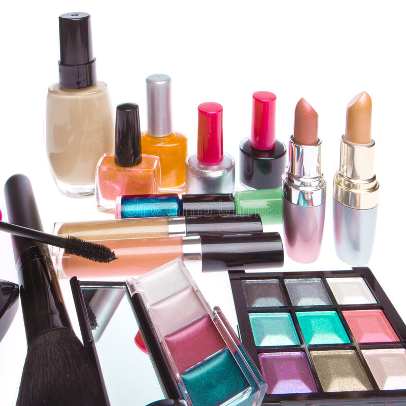 Комплект косметических продуктов стоковое изображение rf