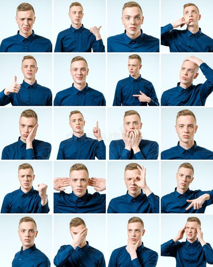 Комплект красивого эмоционального изолированного человека стоковая фотография
