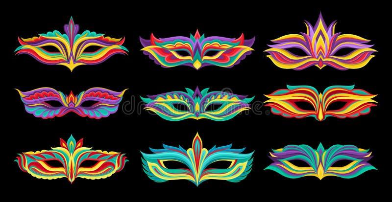 Комплект красивых маск masquerade Живые атрибуты для костюмированной партии Декоративные плоские элементы вектора для марди Гра иллюстрация вектора