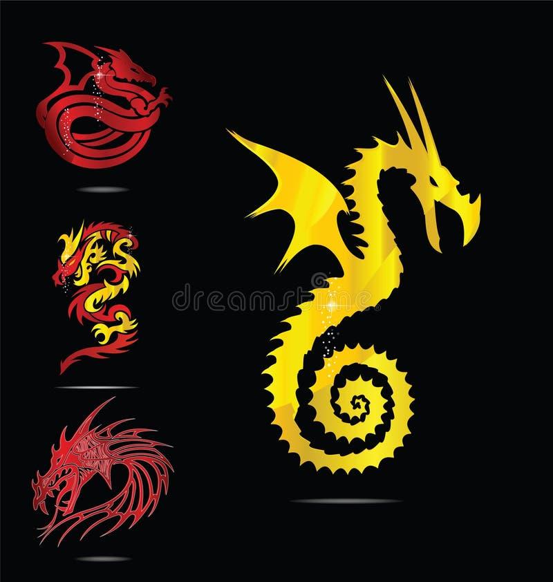 комплект красного цвета золота эмблем драконов иллюстрация штока