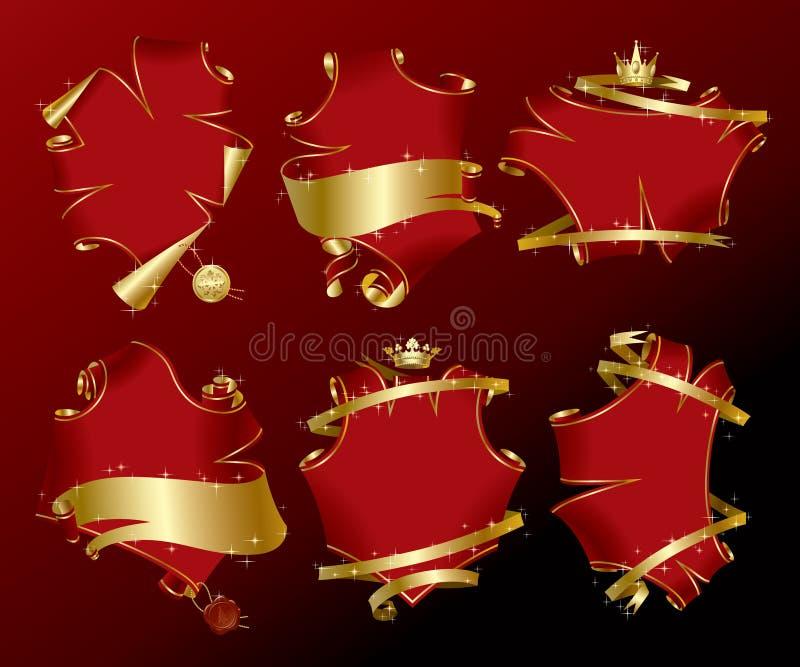 комплект красного цвета праздника знамен бесплатная иллюстрация