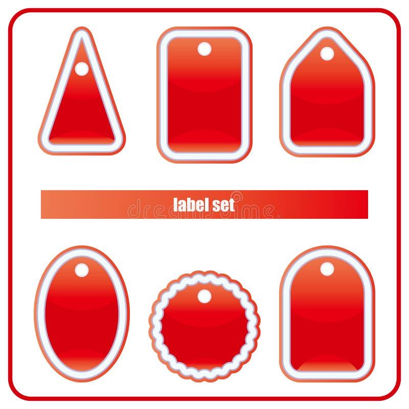 комплект красного цвета ярлыка бесплатная иллюстрация
