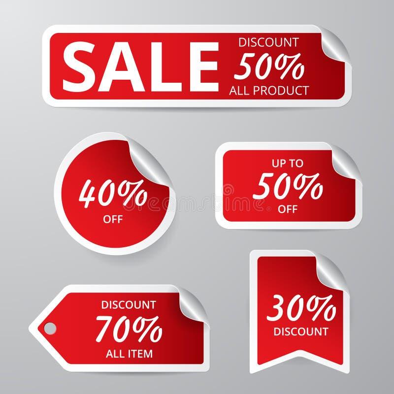 Комплект красной этикетки продажи флористическое ilustration градиентов рамок отсутствие вектора бесплатная иллюстрация