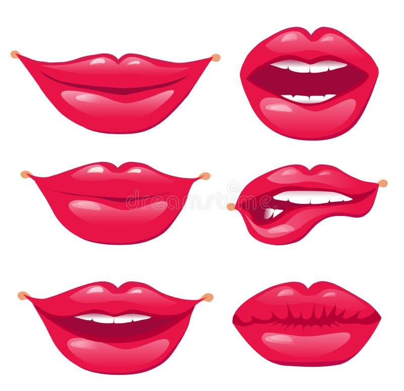 Комплект красных губ Губы сексуального и очарования красные на белой предпосылке бесплатная иллюстрация