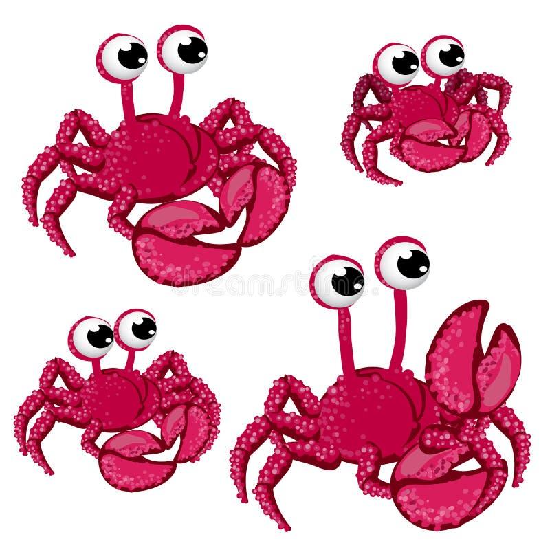 Комплект красных крабов шаржа изолированных на белой предпосылке Иллюстрация конца-вверх шаржа вектора иллюстрация вектора