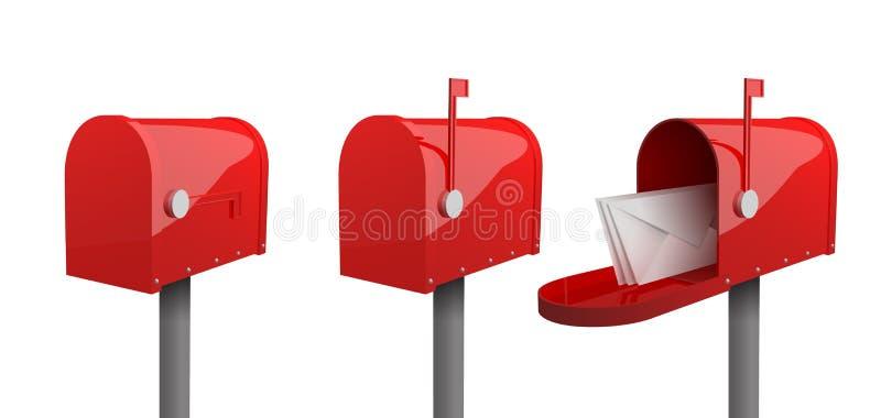 Комплект красных почтовых ящиков с закрытой дверью, поднятым флагом, с открыть дверью и письмами внутрь иллюстрация штока