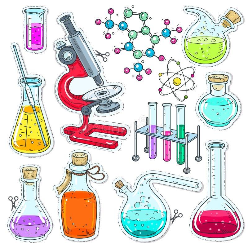 Комплект красочный оборудования химической лаборатории, пробирок, склянок с покрашенной жидкостью, микроскопа и молекул иллюстрация штока