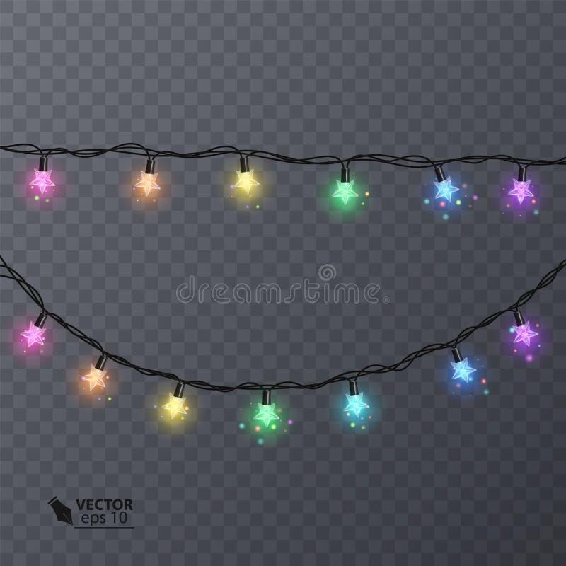 Комплект красочных гирлянд с формой звезд Гирлянда украшения праздника, иллюстрация вектора для вашего украшения иллюстрация вектора