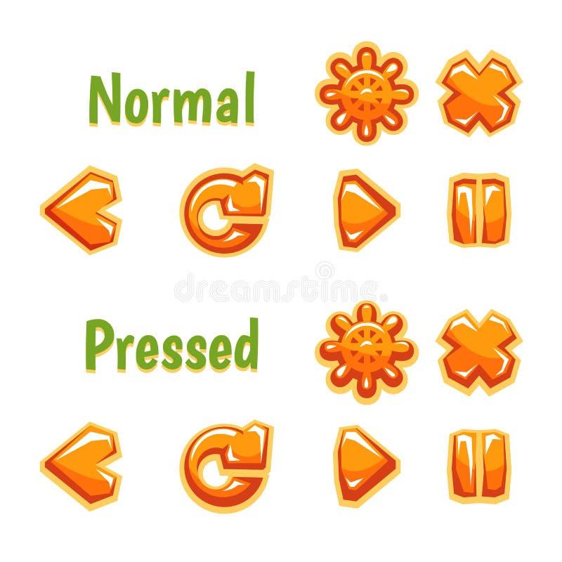 Комплект красочных значков кнопок установки иллюстрация вектора