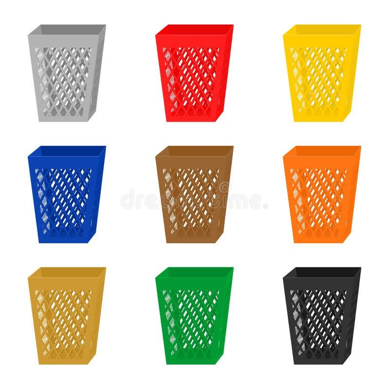 Комплект красочных значков 3D на ненужных ящиках Пестротканые контейнеры собрания для отделенного отхода Рециркулировать мусорный иллюстрация вектора