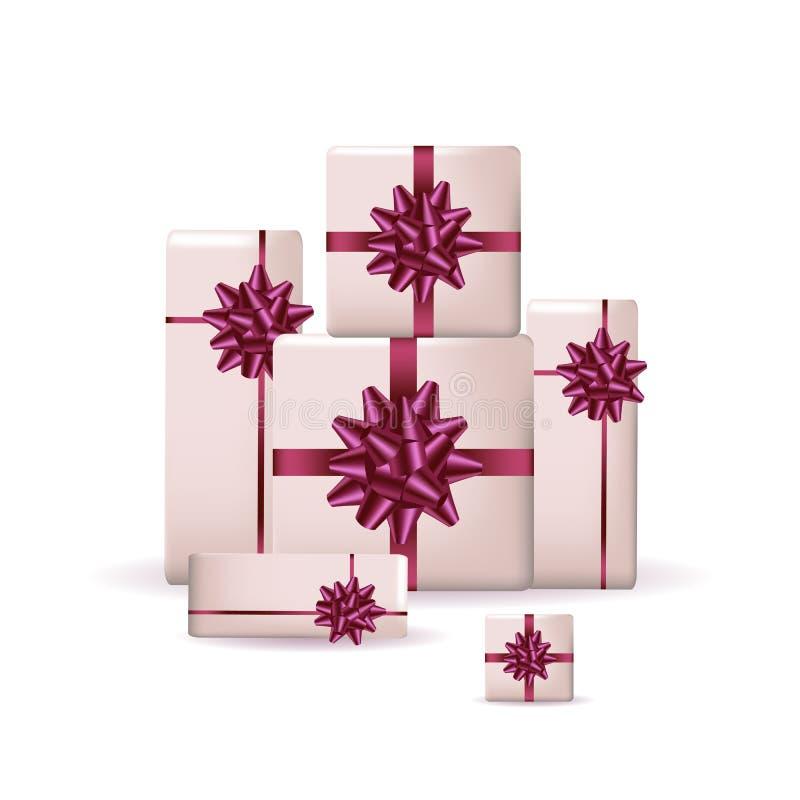 Комплект красочных подарочных коробок с смычками и лент изолированных на предпосылке также вектор иллюстрации притяжки corel иллюстрация вектора