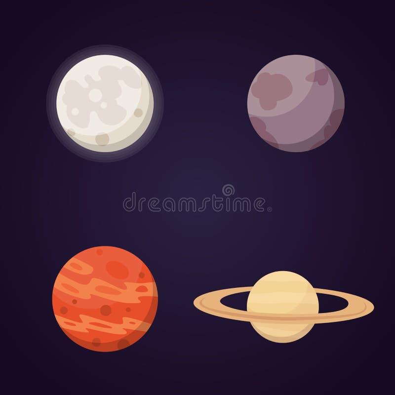 Комплект красочных ярких планет Солнечная система, космос с звездами Милая иллюстрация вектора шаржа бесплатная иллюстрация
