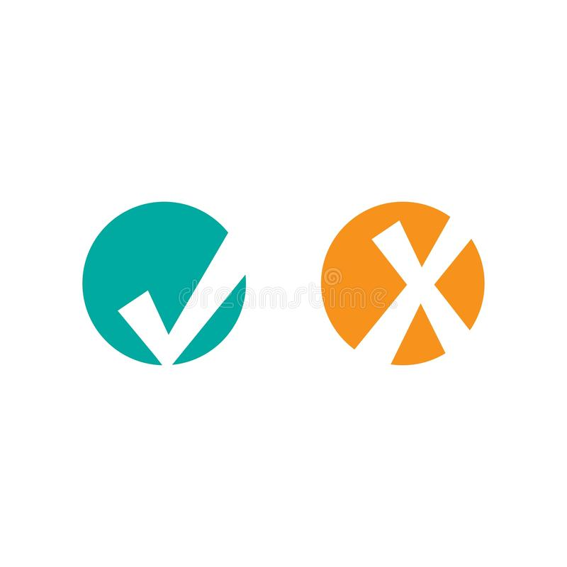Комплект кривобоких значков контрольной пометки белое несимметричное тикание в голубом круге и крест в оранжевом круге иллюстрация штока