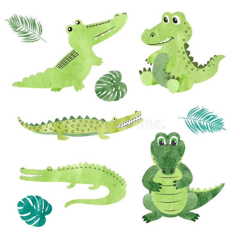 Комплект крокодилов шаржа акварели иллюстрация штока