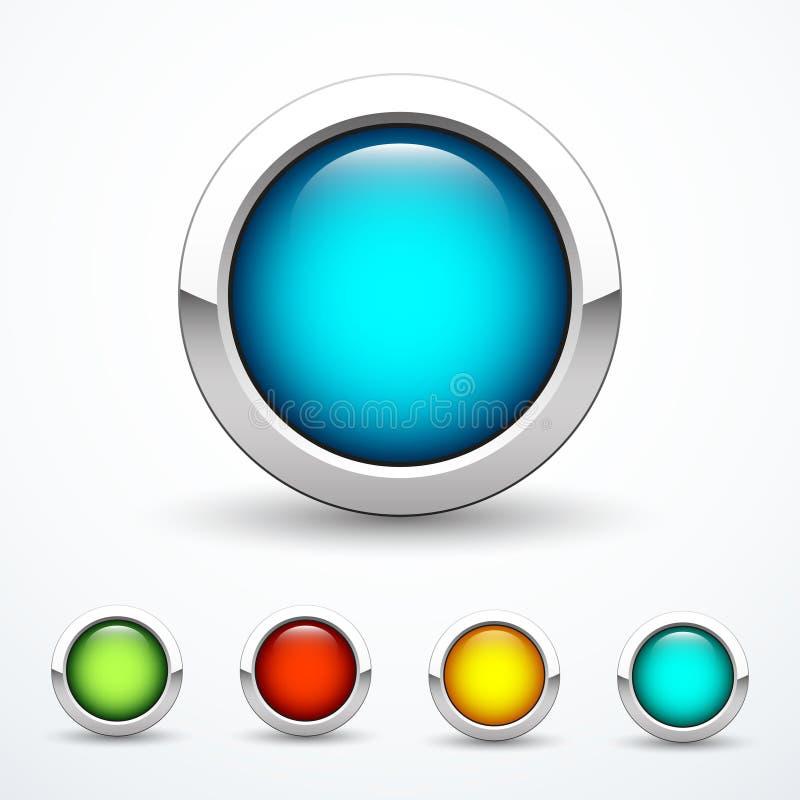 Комплект круглых кнопок металла также вектор иллюстрации притяжки corel иллюстрация вектора