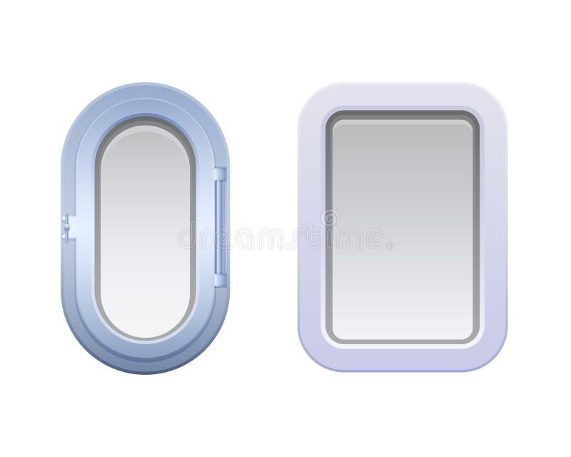 Комплект круглых овальных и прямоугольных окон, иллюминаторов иллюстрация штока