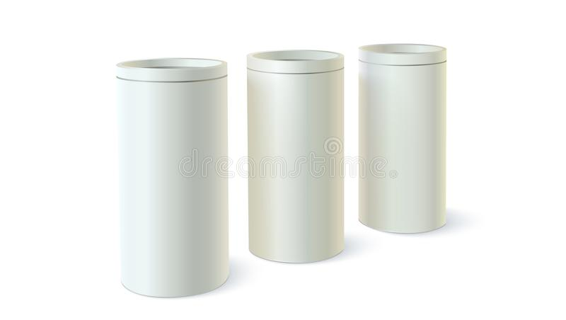Комплект круглых олов упаковки для навальных продуктов Форменное контейнера цилиндрическое, значок пустого круглого шаблона жестя иллюстрация вектора