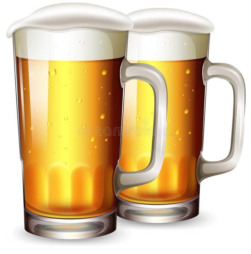 Комплект кружки пива иллюстрация вектора